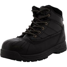 - Synthetic upper in black - Mid cut construction - Lace up closure - Metallic eyelets - Padded collar and tongue for added comfort - Band detailing - Soft fabric lining - Cushioned foot-bed - Durable