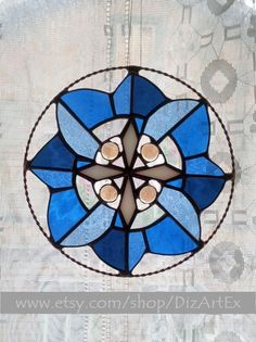 Stained Glass Pendant Panel Winter Flower. Vitrage by DizArtEx