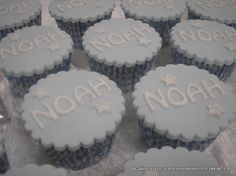 Selection of baptism cupcakes covered in simple baby blue icing with the name spelt out also in icing. Placed into blue gingham cases Baptism Party, Baptism Favors, Cupcake Recipes, Cupcake Cakes, Christening Cupcakes, Blue Icing, Cookie Decorating, Decorating Ideas, Fondant Toppers