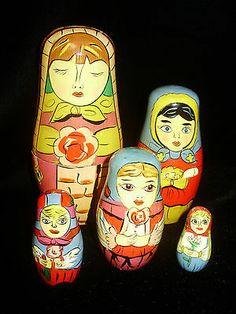 Matryoshka Wood Nesting Doll 5 Piece | eBay