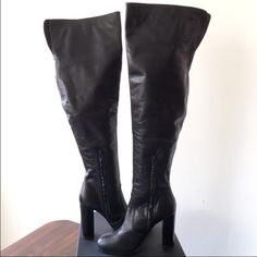 Tony Bianco Thigh High Leather Boots US 9 Tony Bianco   Black Thigh High Boots  Size: US 9 ( fits true to size)   New without box RARE Made in Australia. No STORES IN THE USA A black leather over the knee boot thick heel rounded toe half side zip for entry Heel 4.5 inches Tony Bianco Shoes Over the Knee Boots