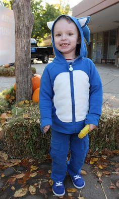 Sonic The Hedgehog made from Peekaboo beans Royal Blue On the Go hoodie and Circa pants  www.peekaboobeans.com/desire #pbhugsandkisses #sonic