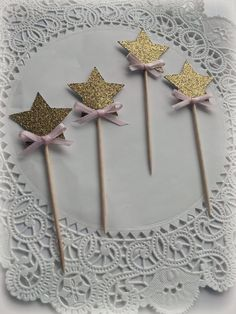 Gold star with bow cupcake toppers, food picks. Set of 12. Pink, gold, glitter, satin bow. Fairy wand. Twinkle twinkle little star party. by FiestaBella on Etsy