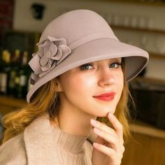 Two flower wide brim bucket hat for women fashion wool blend felt winter  hats c86008676cc1