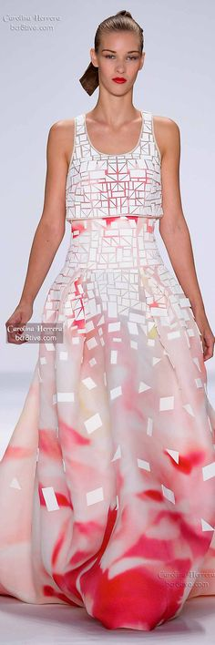 Carolina Herrera ~ Floral Maxi Dress, White/Rose, Spring 2015