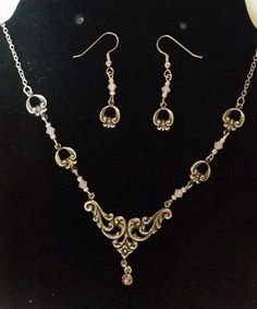 Delicate Filigree Necklace and Earring Set 307 by Ziplily on Etsy
