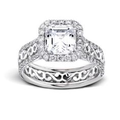 Hand-Crafted Pave Halo Diamond Engagement Ring Setting with two rows of Pave Set Diamond on the shank flanking Ornate Wire Work, and Pave Set Diamonds in the Halo (Shown here with an Asscher Cut center stone) DTC305