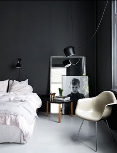 Bedroom - love the large picture frames /