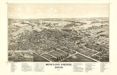 Vintage Map of Bowling Green Ohio in 1888 with city descriptions https://www.etsy.com/listing/76608845/vintage-map-bowling-green-ohio-1888? #Ohio #vintagemaps