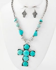 BEAD & STONE CROSS NECKLACE SET - IN TURQUOISE