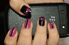 Black rhinestones nail art
