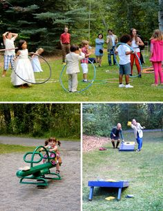 Adults and kids alike playing games at this fun outdoor wedding