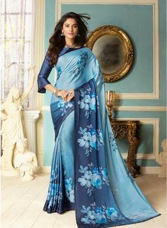 Georgtte Blue Traditional Leriya With Bandhej Print Gujarati Saree Indian Sarees Online, Buy Sarees Online, Satin Saree, Work Sarees, Blue Party, Navy Blue Color, Indian Beauty Saree, Party Wear Sarees, Blue Satin