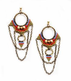 20 OFF  Beaded Tribal Chandelier Statement Earrings by OdeToJoyArt, $45.00