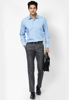 Sky blue shirt with gray pant