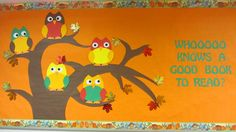 Owl Library Bulletin Board - Who Knows a Good Book to Read                                                                                                                                                                                 More