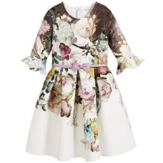 Monnalisa Chic - Ivory & Floral Neoprene Dress with Belt   Childrensalon