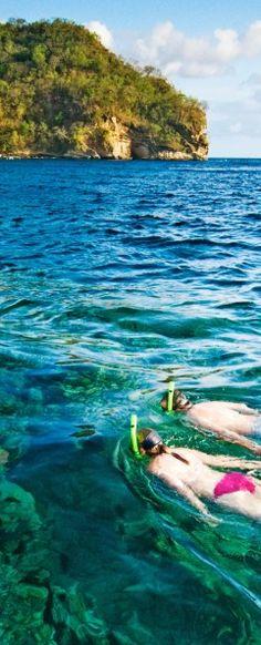Snorkel in a remote location in St. Lucia.