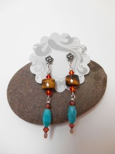 Earrings : Turquoise and Tiger's Eye Silver Earrings