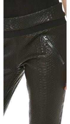RtA Snake Embossed Leather Leggings