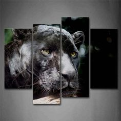 Black Panther Head Wood Portrait Wall Art Painting The Picture Print On Canvas Animal Pictures For Home Decor Decoration Gift #Affiliate
