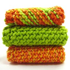 Knit Dishcloths Set of Three Lime Green by EweniqueEssentials