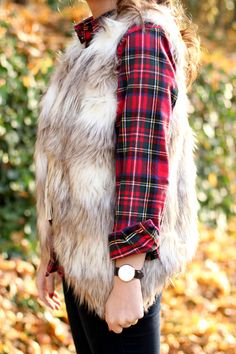 How to Style a Fur Vest and Flannel