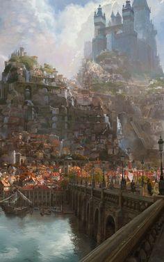 Concept Art Landscape, Fantasy Art Landscapes, Fantasy Concept Art, Game Concept Art, Fantasy Landscape, Fantasy Artwork, Fantasy City, Fantasy Castle, Fantasy Places