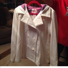 Light weight peacoat Beautiful light weight peacoat two pocket on the front . Six large buttons down the front very soft . Gently used . Great condition Jackets & Coats Pea Coats
