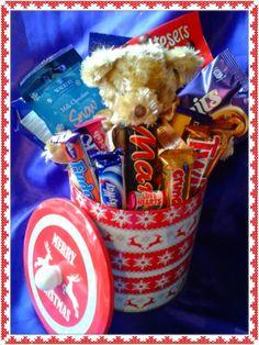Sweetie and chocolate Christmas tin with #Russ #Berrie #Teddy #Bear #Christmas # chocolate #sweets #gift #festive #tin #cadburys #swizzles #reeses #candy #treats #yummy #present #sweetngroovystuff www.facebook.com/sweetngroovystuff