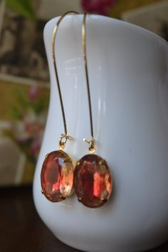 Red and Gold Earrings Stone Variation Rose Opal by GlamNecessities