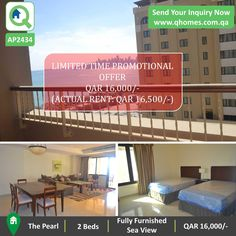 Apartment for Rent in Pearl Qatar: Fully Furnished 2 Beds Apartment with Sea View at QAR 16,000/-