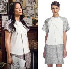 Elementary season 2, episode 12: Joan Watson's (Lucy Liu) Alexander Wang Draped Neck T-Shirt Dress  #elementary #joanwatson #getthelook