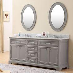 Water Creation Derby 72 in. Double Bathroom Vanity, Carrara White