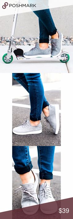 Gray Faux Suede Slip On Sneakers Gary Faux Suede Slip on Sneakers. Laces are semi functional. You can use them to tighten the shoe if needed. Rubber sole. Runs 1/2 a size big. If between sizes, size down. Shoes Sneakers
