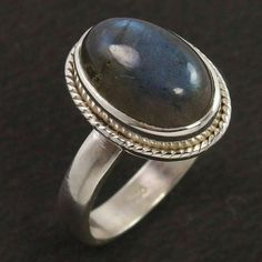 Beautiful Ring Sz US 6.75 Natural Fire LABRADORITE Gemstone 925 Sterling Silver #Unbranded