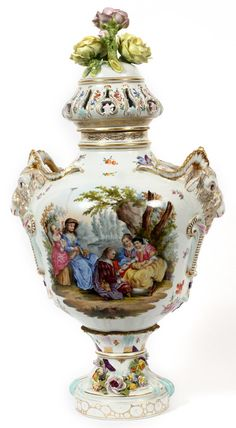 """Carl Thieme, Dresden Porcelain (Germany) — Covered Urn,. H:27"""", c. 1900 (600x1090) Dresden Porcelain, China Porcelain, Painted Porcelain, Dresden Germany, Garden Urns, Vases Decor, Glass Vase, Pottery, Hand Painted"""