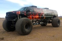 Big Toyz Racing Motors' latest creation, the Sin City Hustler, combines a Ford Excursion limo with a monster truck, for a seven-figure price tag.
