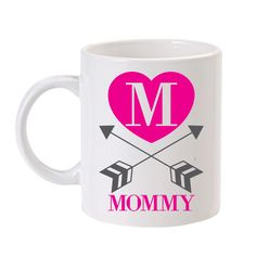 Personalized Straight & True Arrow Mug Pink - show mommy some love for her morning coffee/tea <3