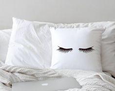 Throw Pillow /// Mascara Eyelash Design // 18x18 pillow WITH stuffing // Girly Makeup Teenager Room Decor