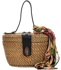 Patricia Nash Spring Wicker Collection Caselle Basket Bag with Floral Scarf #Dillards