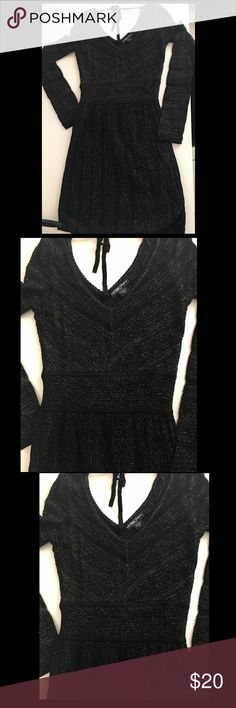 Pretty sweater dress! Guess sweater dress black, gold and silver color!!!!  size S used one time! Guess Dresses Long Sleeve