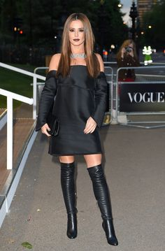For the Vogue 100 gala celebration in May 2016, Cheryl wore an off-the-shoulder dress by Dion Lee with Jimm...