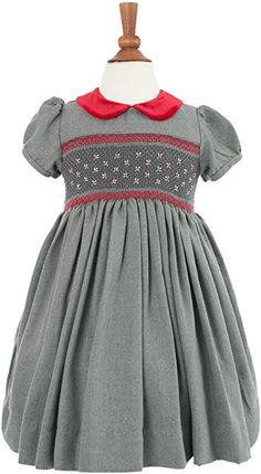 Amazon.com: Carriage Boutique Girl's Hand Smocked Holiday Party Dress - Dark Gray With Red Flowers, 6Y: Clothing