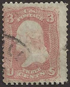 US 19th Century # 65 - 3¢  George Washington -  Bright Rose Used FAULT #AaA