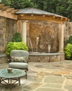 silo as outdoor stone shower