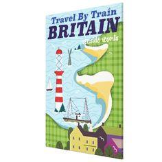 Britain vintage train vacation poster canvas print