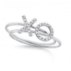 $520.00- KC Designs Pair of Diamond X and O Rings in 14k White Gold with 29 Diamonds weighing .09ct tw.
