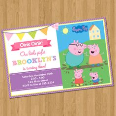 Peppa Pig Birthday Invitations on Etsy, $8.00
