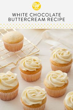 Made using white chocolate, butter and vanilla, this white chocolate buttercream frosting is perfect for anyone looking to sweeten up their icing. Great for piping and spreading between cake layers,. Vanilla Icing Recipe, Cupcake Icing Recipe, Chocolate Icing Recipes, Cupcake Recipes, Baking Recipes, Cupcake Cakes, Cupcakes With Buttercream Frosting, Butter Cream Icing Recipe, Best Icing For Cupcakes